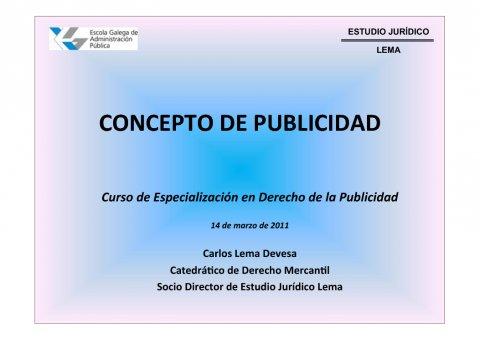O concepto de publicidade  - Curso de especialización en Dereito da Publicidade